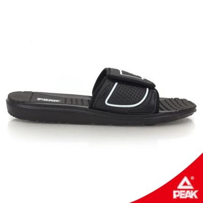 PEAK匹克。男休閒運動拖鞋-正黑/正白