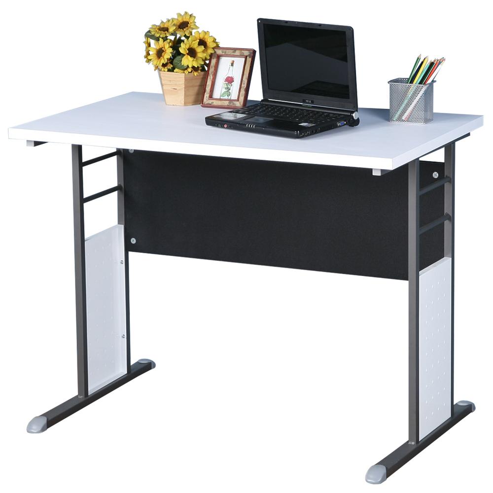 Homelike 巧思辦公桌 炫灰系列-白色加厚桌面100cm