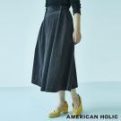 AMERICAN HOLIC 後鬆緊腰設計絲絨喇叭裙