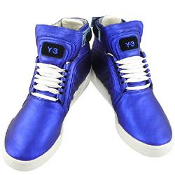 Y-3山本耀司 亮藍色真皮中筒造型靴-US 7.5號