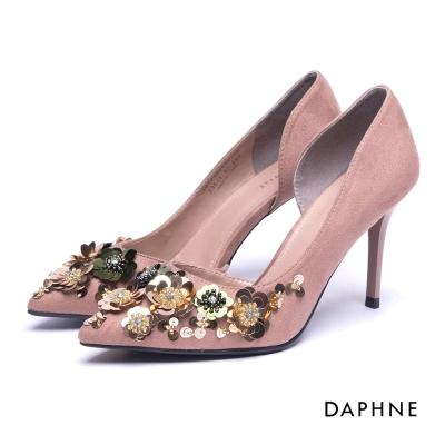 達芙妮DAPHNE 高跟鞋-花朵亮片水鑽挖空絨布高跟鞋-粉紅