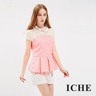 ICHE 衣哲 蕾絲拼接提花馬甲式打摺造型上衣