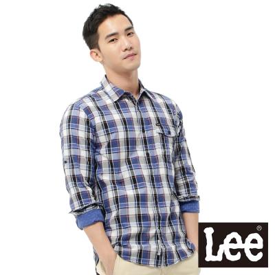 Lee 長袖襯衫 袖可反折內裡點點拼接布-男款(格紋)