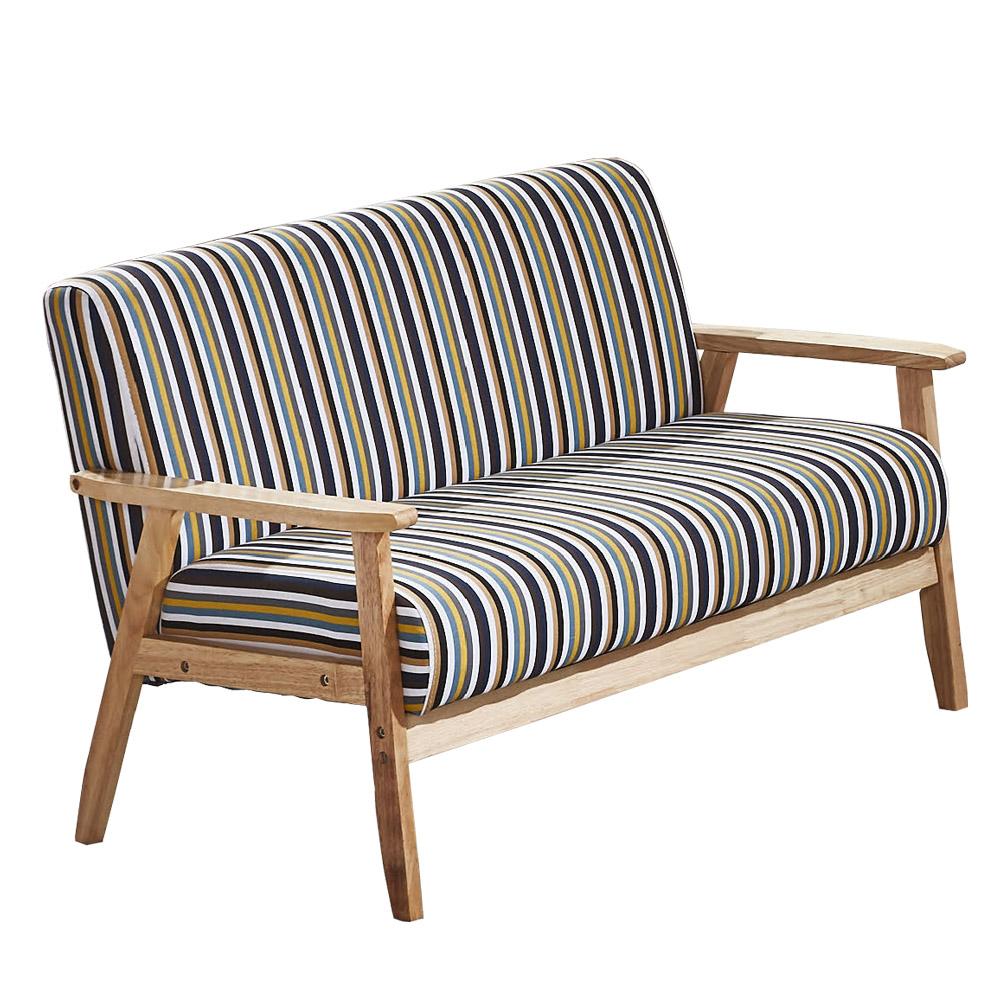 AT HOME-經典直條紋木扶手雙人布沙發(112*65*71cm)