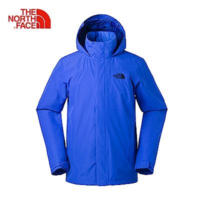 The North Face北面男款藍色防水透氣風衣