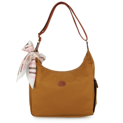 Longchamp 豔彩繽紛大斜背包-焦糖色