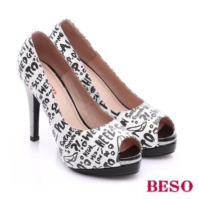BESO-翻玩時尚生活-華麗魚口跟鞋-白
