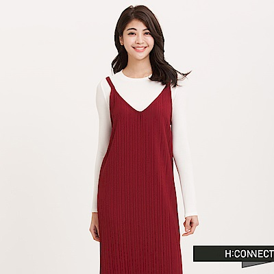 H:CONNECT 韓國品牌 女裝 - 兩件式羅紋長洋裝 - 紅