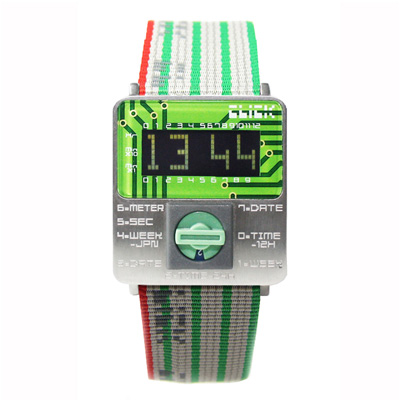 CLICK TURN 復古電路板個性電子腕錶(銀綠)