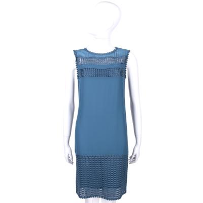 MARELLA 藍色鏤空造型拼接無袖洋裝