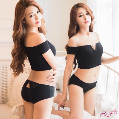 內褲 低腰水鑽造型三角內褲(黑) Lorraine