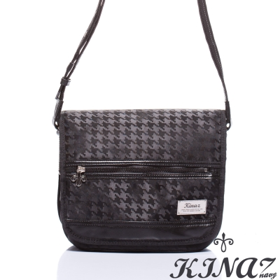 KINAZ-navy-無限延伸斜背包-黯黑千鳥格系列-特賣品