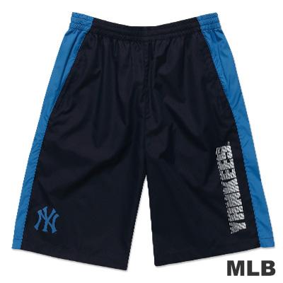 MLB-紐約洋基隊風衣布撞色運動短褲-深藍(男)