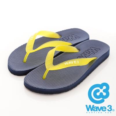 WAVE3-台灣製-男果凍耳帶人字夾腳拖鞋-藍
