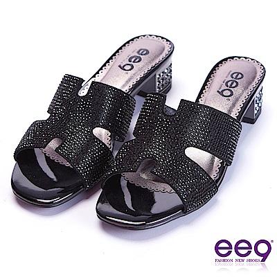 ee9 都會優雅鑲嵌亮鑽鏤空露趾粗跟拖鞋 黑色