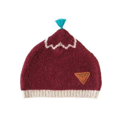 BOBO 棉花糖保暖流蘇帽(紅)