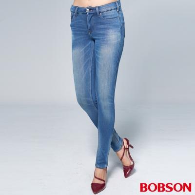 """BOBSON 女款1971""""日本進口黑標""""中藍色保暖褲"""