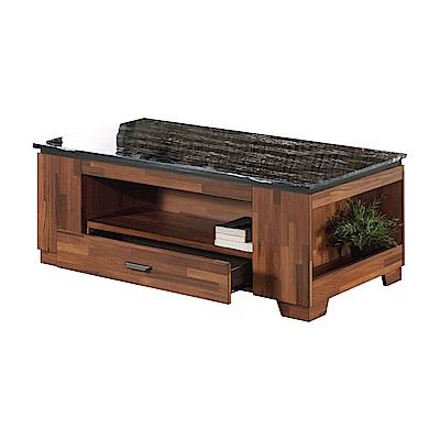 AT HOME-詹姆士4.3尺石面柚木大茶几附收納椅凳(130*70*53cm)