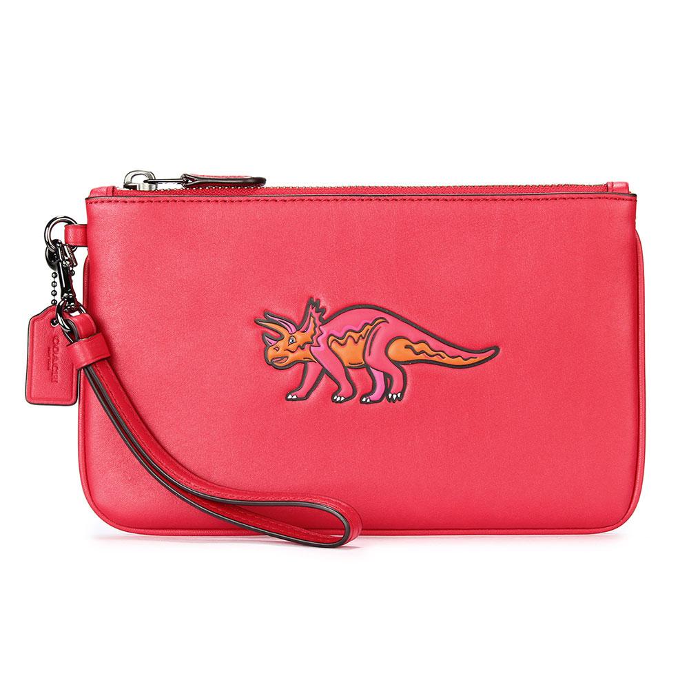 COACH BEASTS 恐龍圖案皮革大手拿/手挽包-紅色