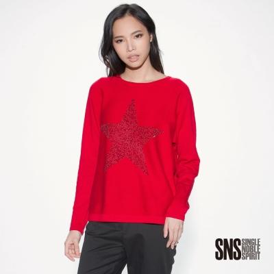 SNS 焦點水鑽飾大星星圓領線衫(3色)