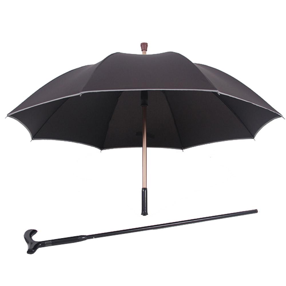 PUSH! 好聚好傘, 抽拉式管設計,可單獨使用枴杖的雨傘拐杖傘登山杖I30黑色
