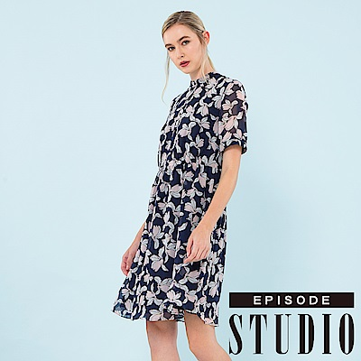 EPISODE Studio - 綻放花漾雪紡洋裝 (深藍)