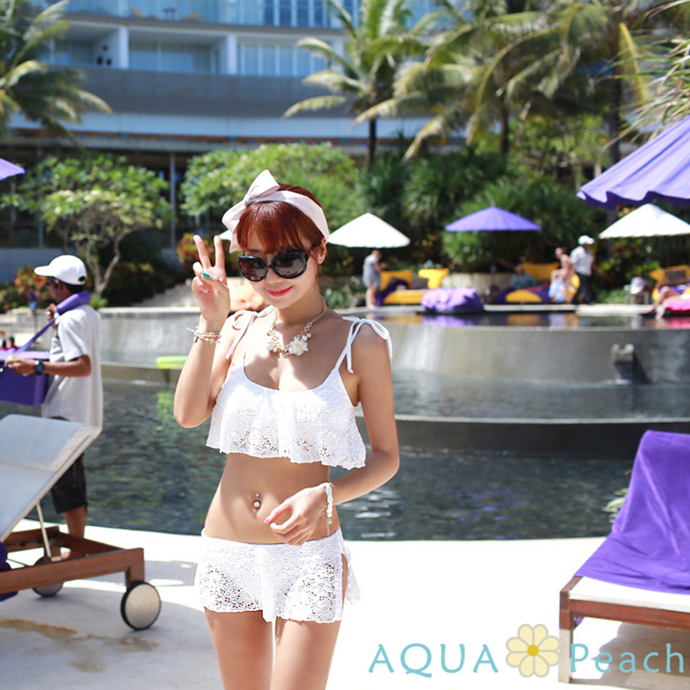 綁帶縷空雕花兩件式泳裝 (白色)-AQUA Peach