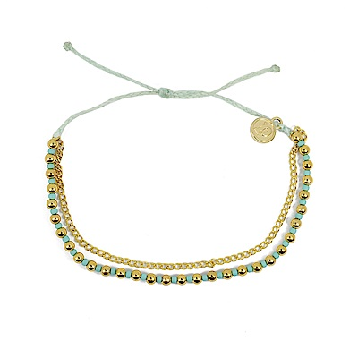 Pura Vida 美國手工 金色圓珠雙鍊系列 嫩綠色臘線可調式手鍊防水衝浪手繩