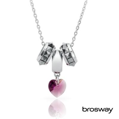 brosway Tres Jolie 施華洛世奇水鑽不鏽鋼項鍊 灰黑/心鑽紫