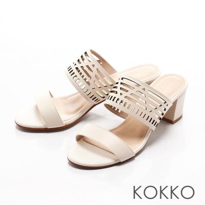 KOKKO-渡假風線條雷射幾何縷空高跟涼拖鞋-白色
