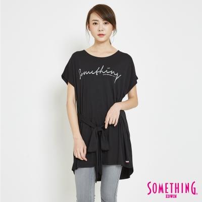 SOMETHING-綁帶寬鬆LOGOT恤-女-黑色