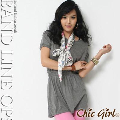 【Chic Girl】鬆緊束腰素色寬袖連身裙 (灰色)