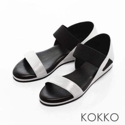 KOKKO-不敗線條柔軟真皮懶人平底涼鞋 -銀黑