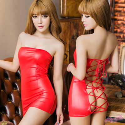 Cosplay 紅色平口洋裝綁繩美背辣妹角色扮(紅F) Lorraine