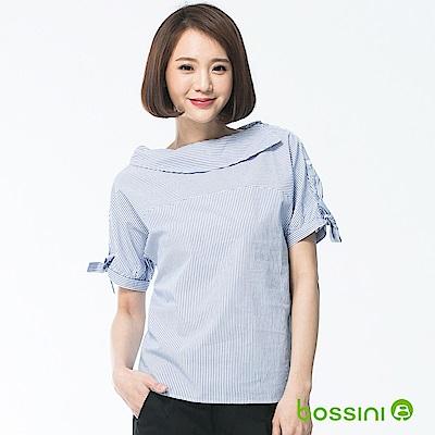 bossini女裝-船領短袖造型襯衫藍