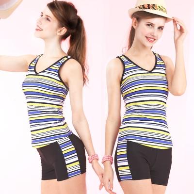 TiNyHouSe 二件式V領背心短褲款泳裝 (黃藍條紋M-L)