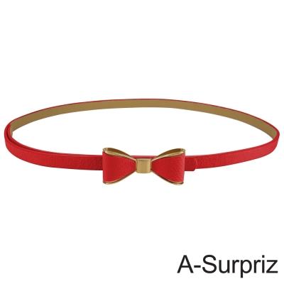 A-Surpriz 優雅金邊蝴蝶結細版腰帶(紅)