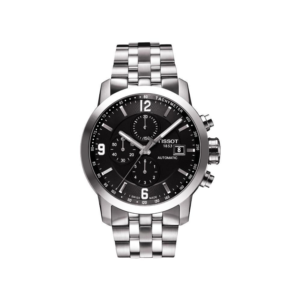 TISSOT T-Sport PRC200競速三眼計時機械腕錶-黑x銀43mm