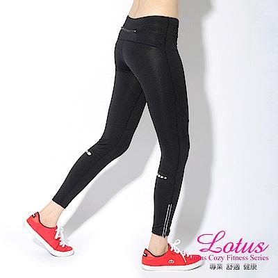 運動褲 舒適彈性反光條側拉鍊慢跑褲-(S-XL) LOTUS