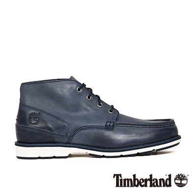 Timberland-男款海軍藍復古摔紋皮革方頭休