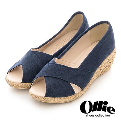 Ollie韓國空運-正韓製素色帆布交叉魚口楔型鞋-深藍