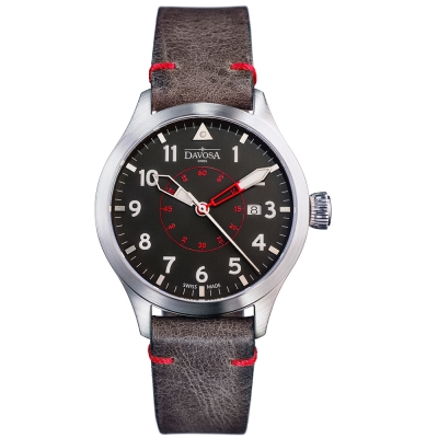 DAVOSA Neoteric Pilot 經典飛行員系列腕錶-黑面/皮帶/42mm