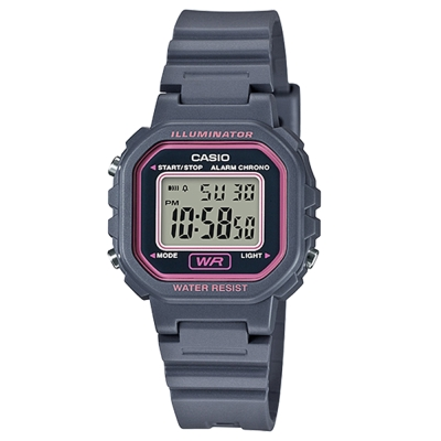 CASIO 黑色炫風方形電子錶(LA-20WH-8A)-灰色/30.4mm