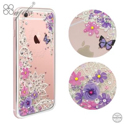 apbs iPhone6s/6 PLUS 施華洛世奇彩鑽金屬框手機殼-玫瑰金蕾絲...