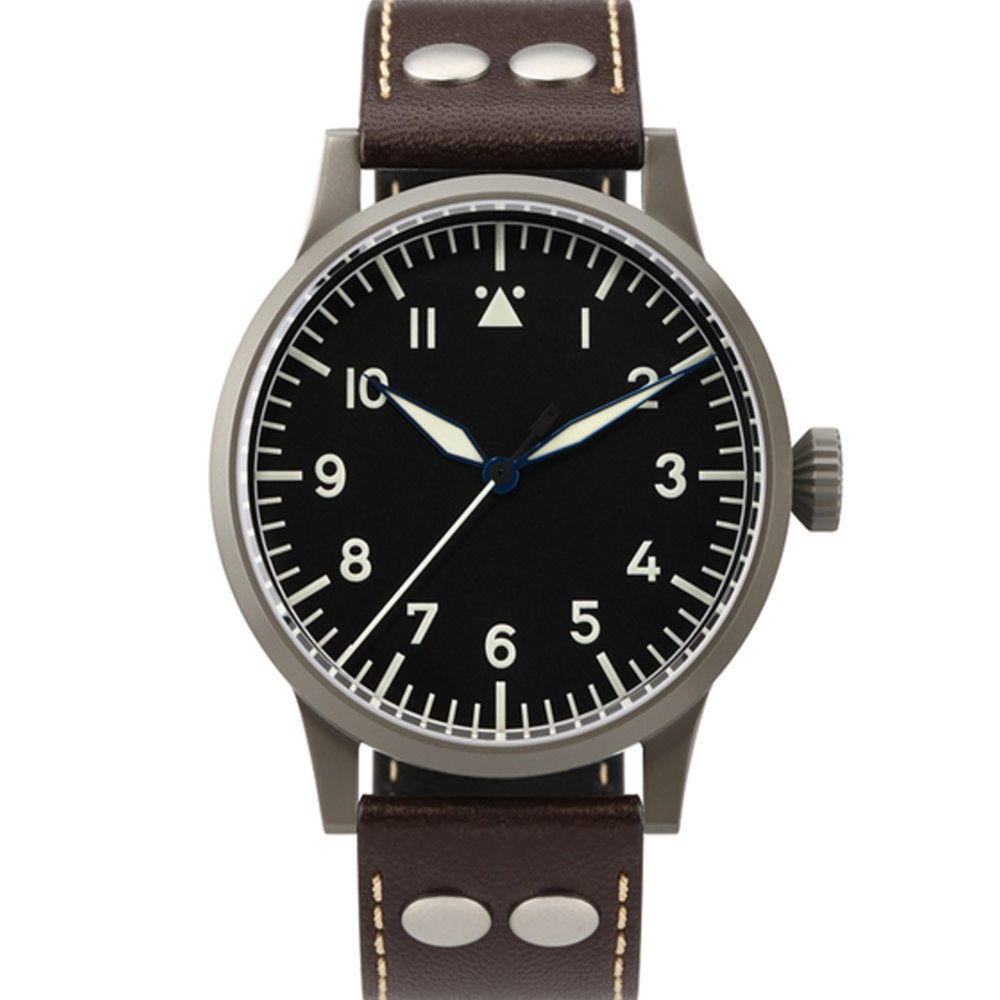 Laco朗坤 Saarbrucken 夜光飛行機械腕錶-黑/45mm