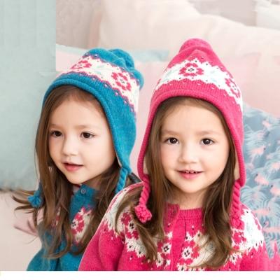 花朵羊毛 兒童毛線帽-二色