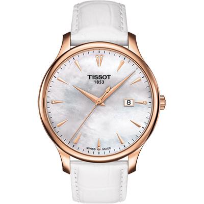 TISSOT Tradition 真鑽經典大三針石英腕錶-珍珠貝x玫瑰金框/42mm