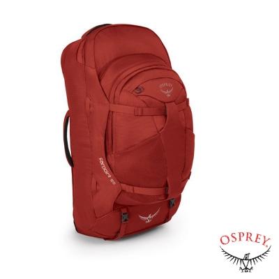 【OSPREY】新款 Farpoint 55L 多功能登機箱.行李箱背包 寶石紅 R