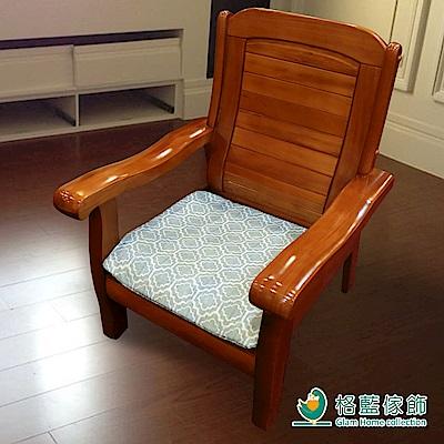 格藍傢飾 雅室緹花坐墊套-藍1+2+3人含內坐墊-2款任選