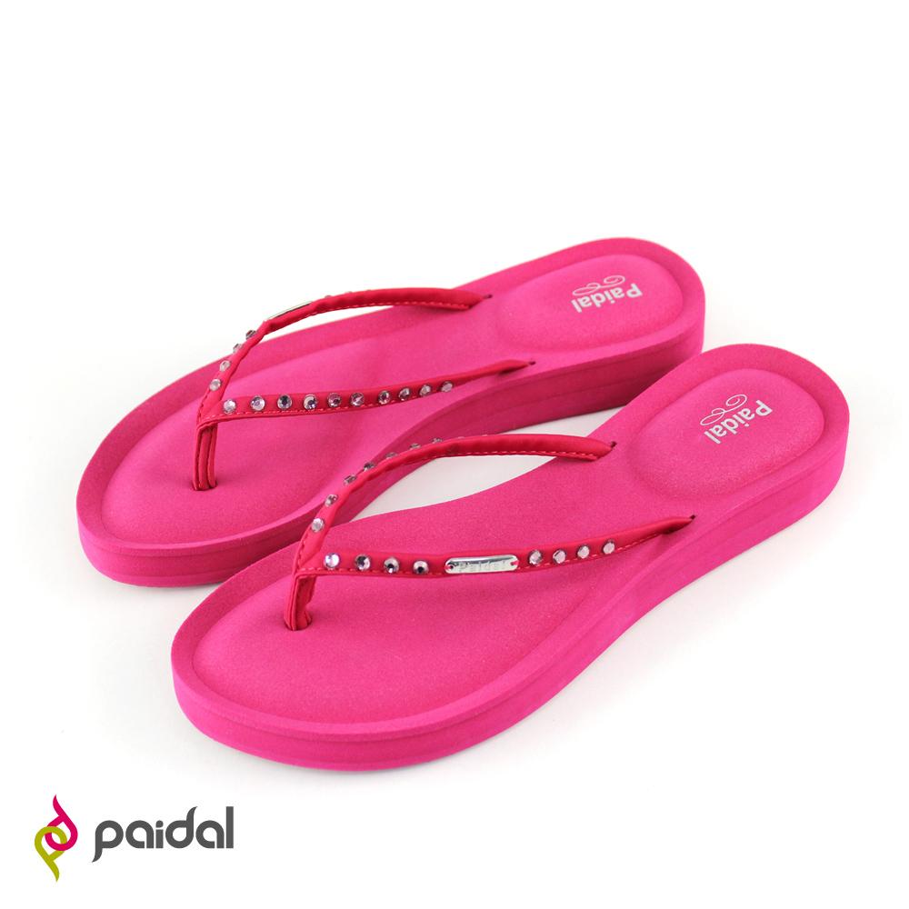 Paidal質感鑽飾膨膨氣墊美型夾腳拖鞋-玫瑰紅